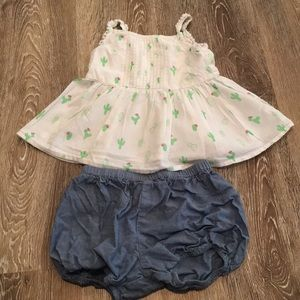Cactus cotton top and chambray bubble shorts